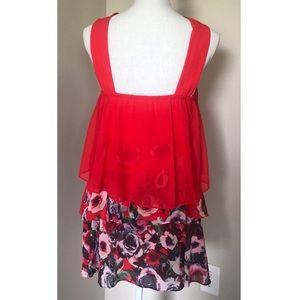 Badgley Mischka Dresses - Badgley Mischka Popover Floral Ruffle Dress